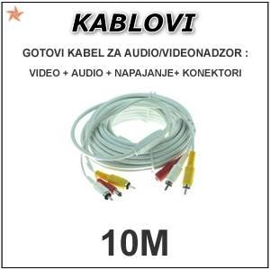 GOTOVI KABEL ZA VIDEONADZOR + AUDIO – 10M
