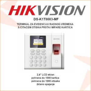Hikvision terminal za evidenciju radnog vremena i kontrolu pristupa s čitačem otiska prsta i mifare kartica DS-K1T8003-MF