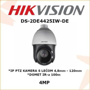 HIKVISION 4MP IP PTZ KAMERA 4,8 - 120mm DS-2DE4425IW-DE