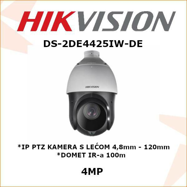 HIKVISION 4MP IP PTZ KAMERA 4,8 - 120mm DS-2DE4425IW-DE