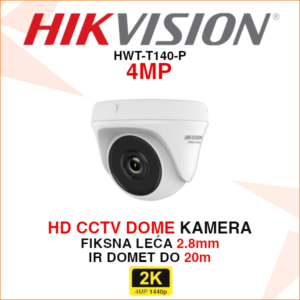 HIKVISION HD CCTV 4MP DOME KAMERA HWT-T140-P